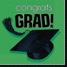 School Colors Graduation Lunch Napkins-Green -36ct