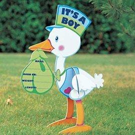 Yard Sign Stork Boy Corrugated