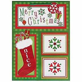 "Christmas Whimsical Stocking Extra Large Vertical Kraft Gift Bag, 18"" x 13"" x 5"""