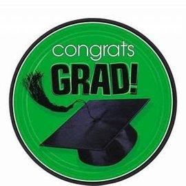 "Green Congrats Grad 9"" Round Plate-18ct"
