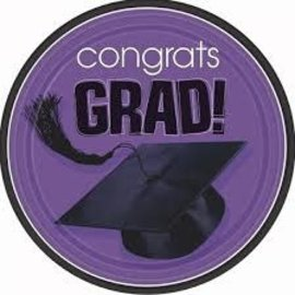 "Congrats Grad 9"" Plates- Purple 18ct"