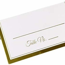 Table Number Place Cards-White W/Gold 50ct