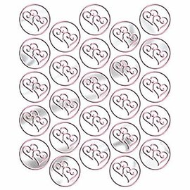 Metallic Pink Twin Heart Sticker Seals, 25ct