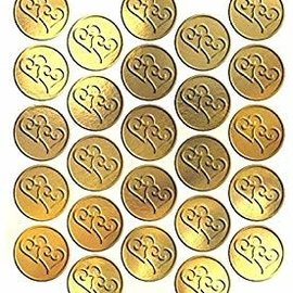 Metallic Gold Twin Hearts Sticker Seals, 25ct