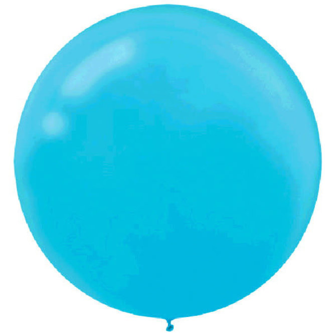 "24"" Round Latex Balloons- Caribbean Blue 4ct"