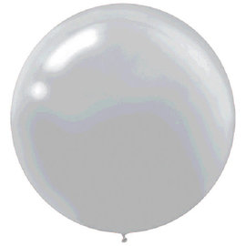 """24"""" Round Latex Balloons - Pearlized - Silver 4ct"""