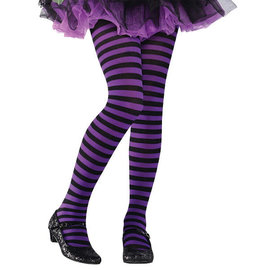 Purple/Black Striped Tights- Child M/L