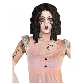 Curly Black Creepy Doll Wig