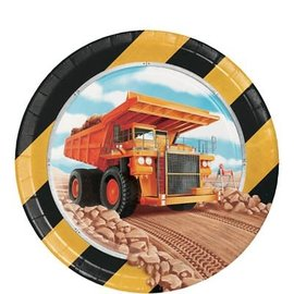 "Big Dig Construction 7"" Plates, 8ct"