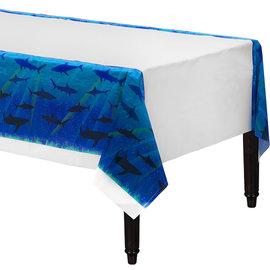 "Shark Splash Plastic Tablecover, 54""x108"""