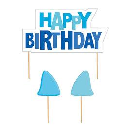 Shark Splash Happy Birthday Molded Candles, 3ct