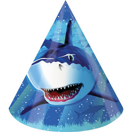 Shark Splash Paper Party Hats, 8ct