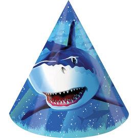 Shark Splash Paper Party Hats, 8ct