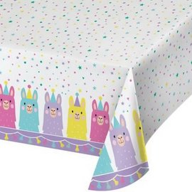 """Llama Party Plastic Tablecover, 54"""" x 102"""""""