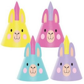 Llama Party Shaped Cone Hats, 8ct