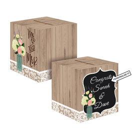 Rustic Wedding Chalkboard Card Box, 12""