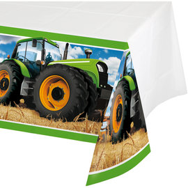 "Tractor Time Plastic Tablecover 54""x102"""