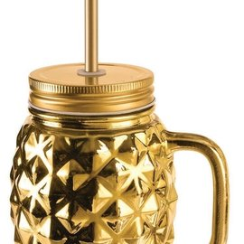 Luau Luxe- Pineaaple Mason Jar with Lid, 16oz