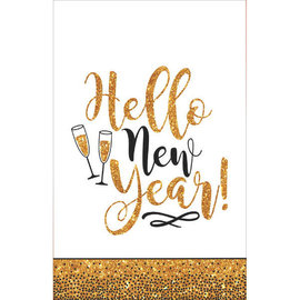 """Gold Glitter New Year's Plastic Table Cover, 54"""" x 108"""""""