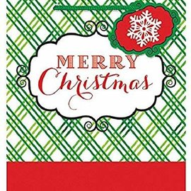 """Festive Christmas Red and White Criss-Cross Small Vertical Gift Bag Party Supply, Paper , 5"""" x 4"""" x 2"""""""