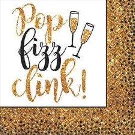 Pop, Fizz, Clink Beverage Napkins- 16ct