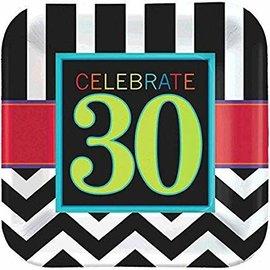 """Celebrate 30 9"""" Square Plates- 8ct"""