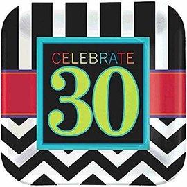 """Celebrate 30 7"""" Square Plates"""