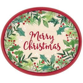 Merry Holly Oval Plates, 8ct- Clearance