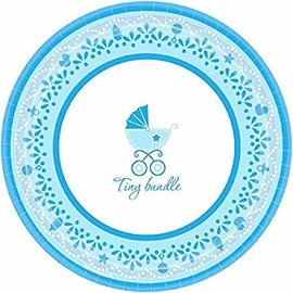 "Celebrate Baby Boy Round Dessert Plates, 7"", Blue/White"