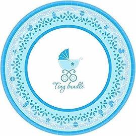 """Celebrate Baby Boy Round Dessert Plates, 7"""", Blue/White"""