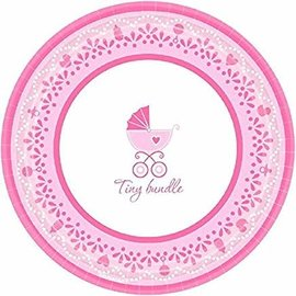 "Sweet Celebrate Baby Girl Round Dessert Plates, 7"", Pink/White- 18ct"