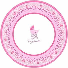 "Sweet Celebrate Baby Girl Round Dinner Plates Sweet (18 Piece), 10 1/2"", Pink/White"
