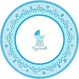 "Charming Celebrate Baby Boy Round Dinner Plates, 10-1/2"", Blue/White- 18ct"