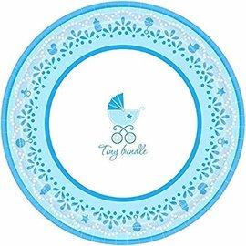 "Charming Celebrate Baby Boy Round Dinner Plates, 10-1/2"", Blue/White- 18ct"