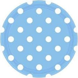 "Pastel Blue Dots 9"" Plates- 8ct"