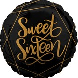 "Black and Gold Sweet Sixteen Balloon, 18"" (#51)"