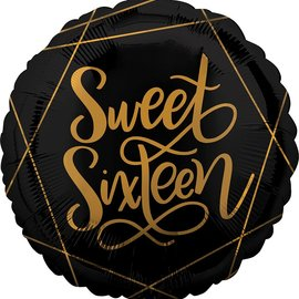 Black and Gold Sweet Sixteen Balloon, 18""