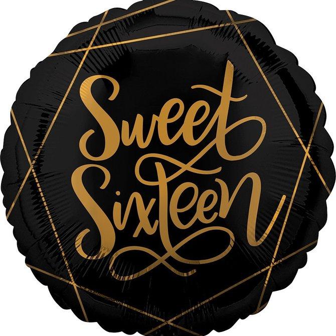 "Black and Gold Sweet Sixteen Balloon, 18"""