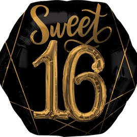 "Black and Gold Sweet Sixteen Balloon, 26"" (#130)"