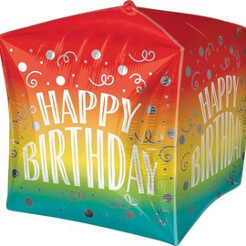 "Happy Birthday Swirl Cubez Balloon, 15"" (#223)"