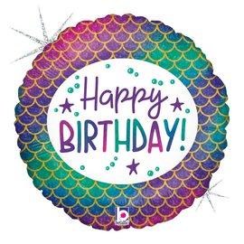"""Glitter Mermaid Happy Birthday Balloon, 18"""""""