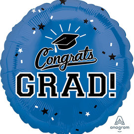 Congrats Grad Blue Circle Balloon, 18""