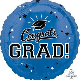 """Congrats Grad Blue Circle Balloon, 18"""""""