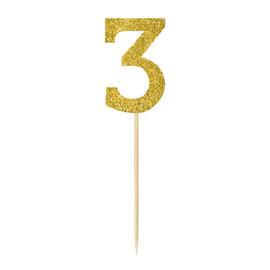 Small Gold Glitter Picks- 3, 4ct