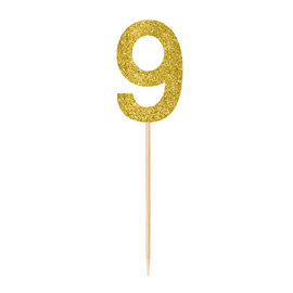 Small Gold Glitter Picks- 9, 4ct