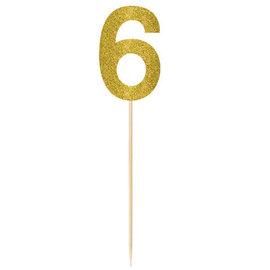 Large Gold Glitter Picks- 6, 2ct