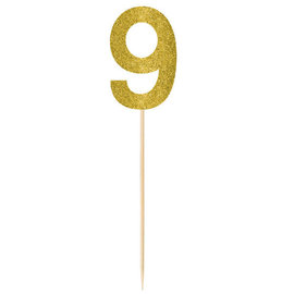 Large Gold Glitter Picks- 9, 2ct
