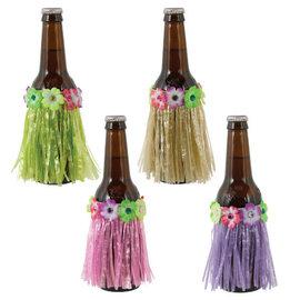 Tropical Jungle Grass Skirt Bottle Covers - 4ct