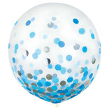 """24"""" Round Latex Balloons w/ Confetti - Blue/Silver - 2ct"""