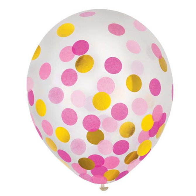 "12"" Latex Balloons w/ Confetti - Pink/Gold - 6ct"